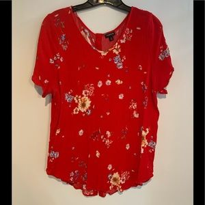 Torrid red gauze blouse